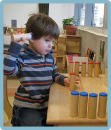 Child using soundbox materials