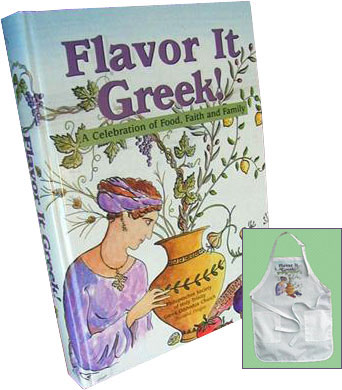 Flavor It Greek! cookbook and apron combination